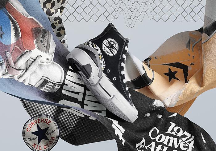 Phá vỡ vùng an toàn Converse tận dụng những chiếc logo làm nền chủ đạo